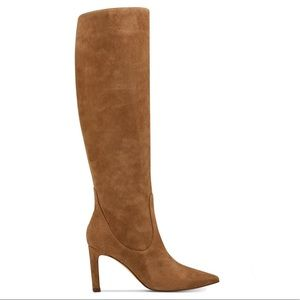 NINE WEST-MAXIM SUEDE POINTED TOE KNEE-HIGH BOOTS